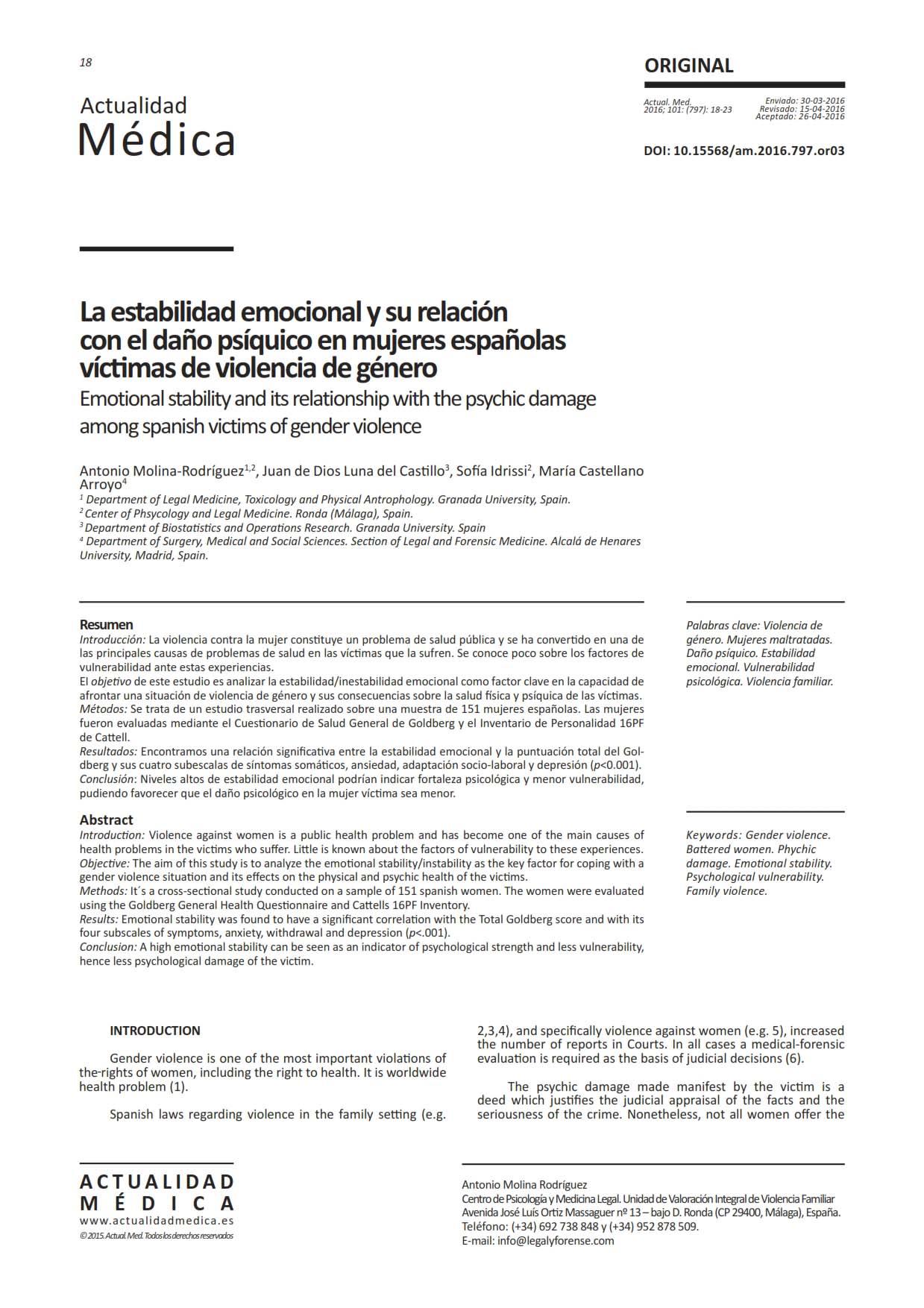 Evaluación del daño psíquico y la violencia psicológica en mujeres víctimas de violencia de género